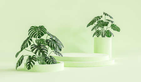 Background rendering with podium and wall scene abstract background. 3D rendering Фото со стока