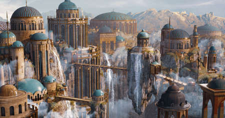 Environment Panoramic View of Sci-Fi Dome Castle, floating island and waterfall