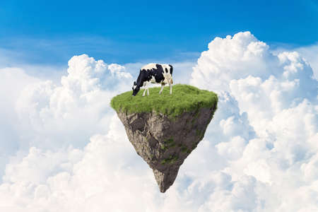 Fantasy floating island with natural and cow, floating island in environmental concept