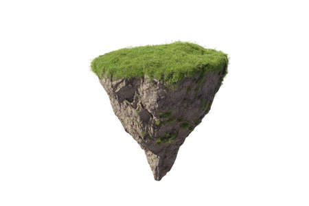 Fantasy floating island with natural grass Isolate, floating island in environmental concept