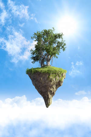 Fantasy floating island with natural tree, floating island in environmental concept