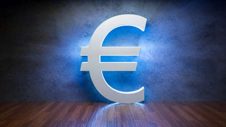 Symbol of Euro glowing in empty concrete room as currency sign,3D Rendering Фото со стока