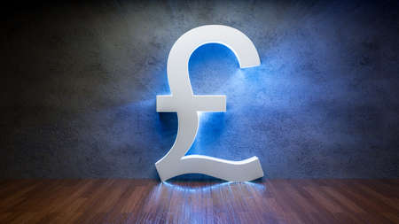 Symbol of British pound glowing in empty concrete room as currency sign,3D Rendering Фото со стока