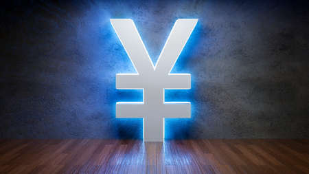 Symbol of Chinese Yen Renminbi glowing in empty concrete room as currency sign,3D Rendering Фото со стока