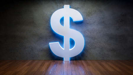 Symbol of dollar glowing in empty concrete room as currency sign,3D Rendering Фото со стока