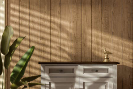 Empty cabinet wooden table with nice window  shadow  in vintage color tone Фото со стока