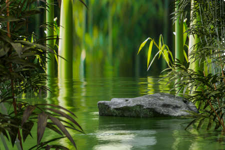 Natural rock podium with water surround with bamboo environment