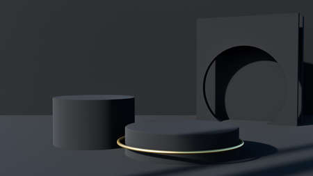 3D rendering of a black geometric background for commercial advertising