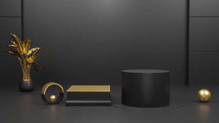 3D rendering black geometric background, can be used for posters, commercial activities and other background and Black Friday