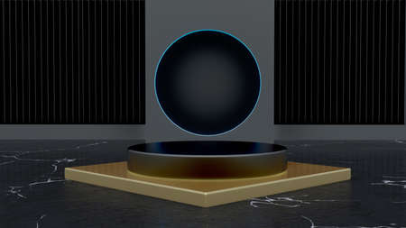 Futuristic Blank product stand and Abstract background with led light and reflection.3d Illustration.