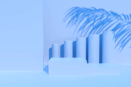 Blue background for product presentation with shadows and light. Empty podiums. Mockup. Фото со стока