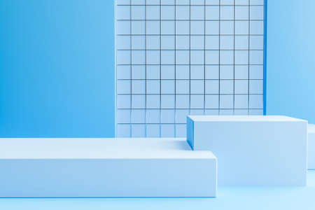 Minimal scene with podium and abstract background. Blue colors scene. Minimal 3d rendering. Geometric shapes. Scene with geometrical forms and textured background for cosmetic product. 3d render. Фото со стока