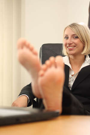 black toes: Blonde Businesswoman Stock Photo