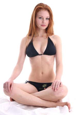 tailor seat: girl meditation - relaxing Stock Photo