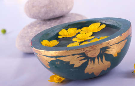 wellness - bowl with water and flower Фото со стока