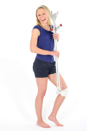 injured girl with crutch