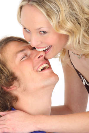 contentedness: couple in love - biting his nose