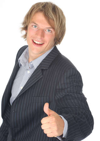 thumbs up businessman showing thumb