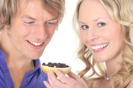 contentedness: couple in love - feeding each other