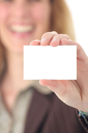businesscard: woman presenting businesscard