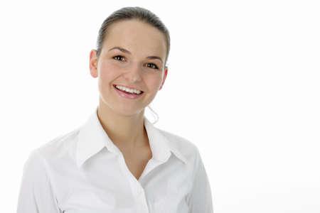 natural woman smiling at camera photo