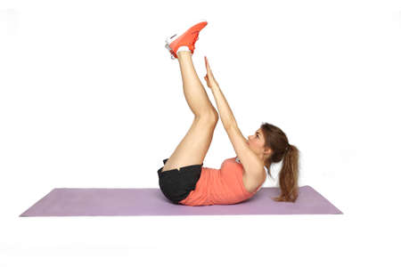 situp: girl doing a sit-up exercise - sport