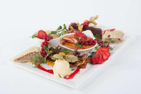 dessert plate: Piatto Dessert - Crema budino Brullet Archivio Fotografico