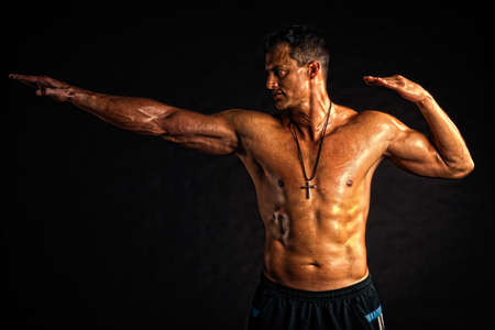 cardiovascular workout: Stong golden man - sport gesture