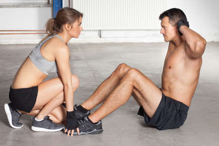situp: crunches - sit up exercise - crossfit Stock Photo