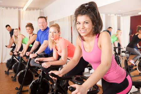 spinning cycling group of people