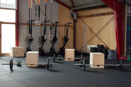 gymnastics: crossfit fitness studio Stock Photo