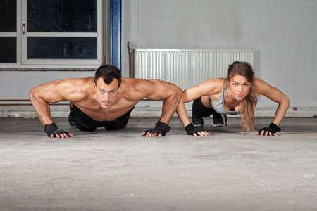 pushup: crossfit push up exercise Stock Photo