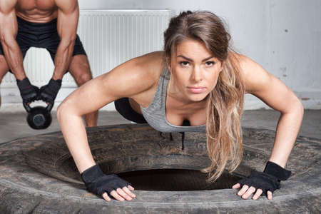 push up: Push up on a tire crossfit training