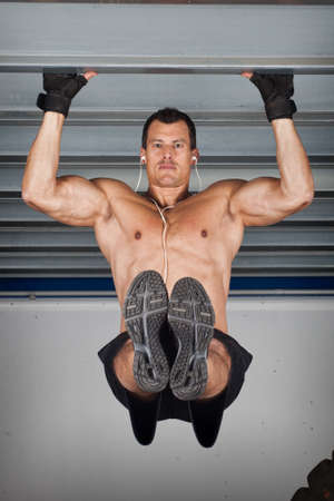 steel girder: pull up chin up crossfit fitness training at a steel girder