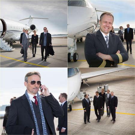 corporate jet: executive business team corporate jet - business travel Stock Photo