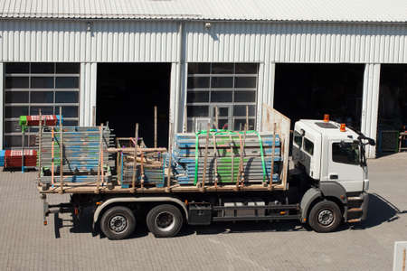 steel girder: Truck loaded with steel girder