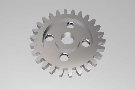 large group of objects: cogwheel chain on white background - success