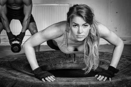 pushup: Push up on a tire crossfit training