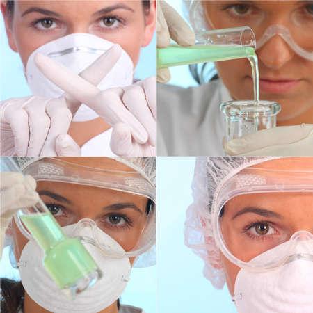 examine: analytical chemist - doctor examine dangerous green fluid