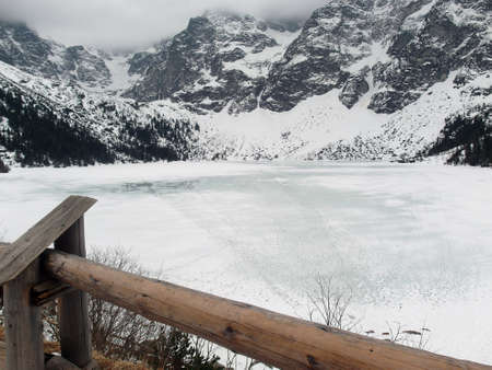 snow covered mountains: Frozen Lake and snow covered mountains