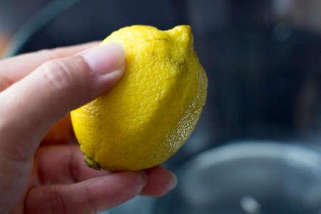 Rough skin of the lemon fruit Stock Photo