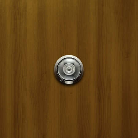 eyewitness: door lens peephole on dark wooden texture