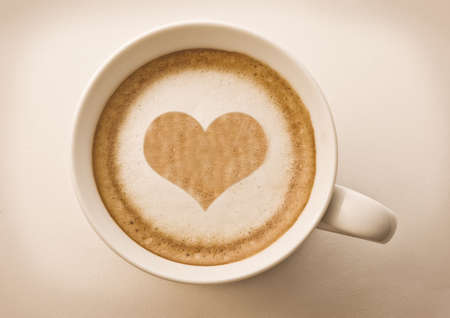 love cup , heart drawing on latte art coffee Stock Photo - 8875910