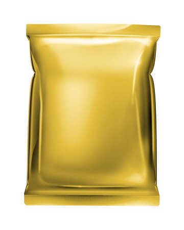 gold aluminum foil pack isolated on white background photo