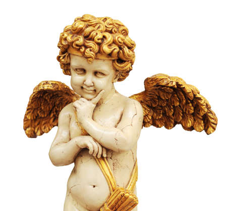 cupid statue with gold color wing Stock Photo