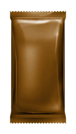brown aluminum foil bag package with zigzag trim cut photo