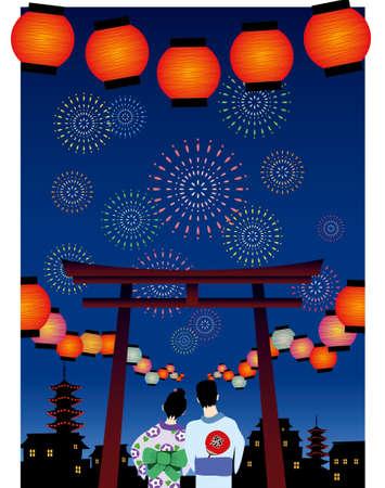 japanese summer festival vector graphic