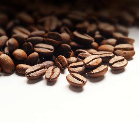 coffe bean: chicchi di caff� su sfondo bianco