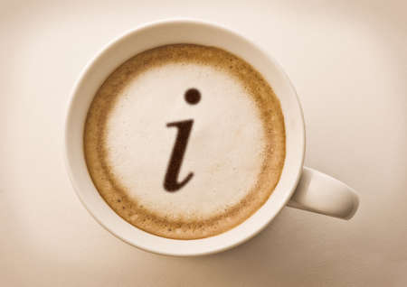 letter i drawing on latte art coffee cup