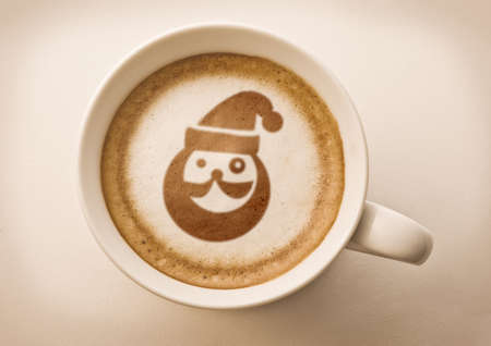 santa claus coffee art photo